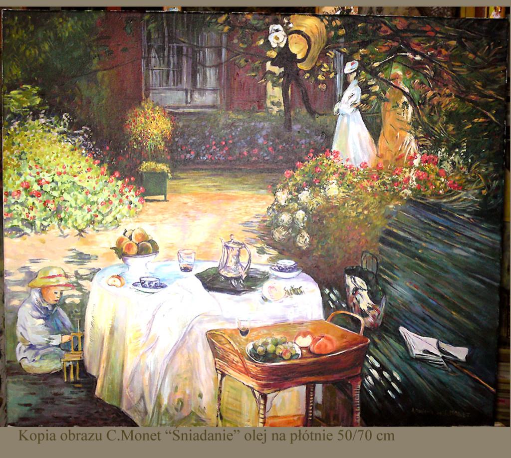 "Kopia obrazu Claude Moneta ""Śniadanie "" olej na płótnie 50/70 cm"