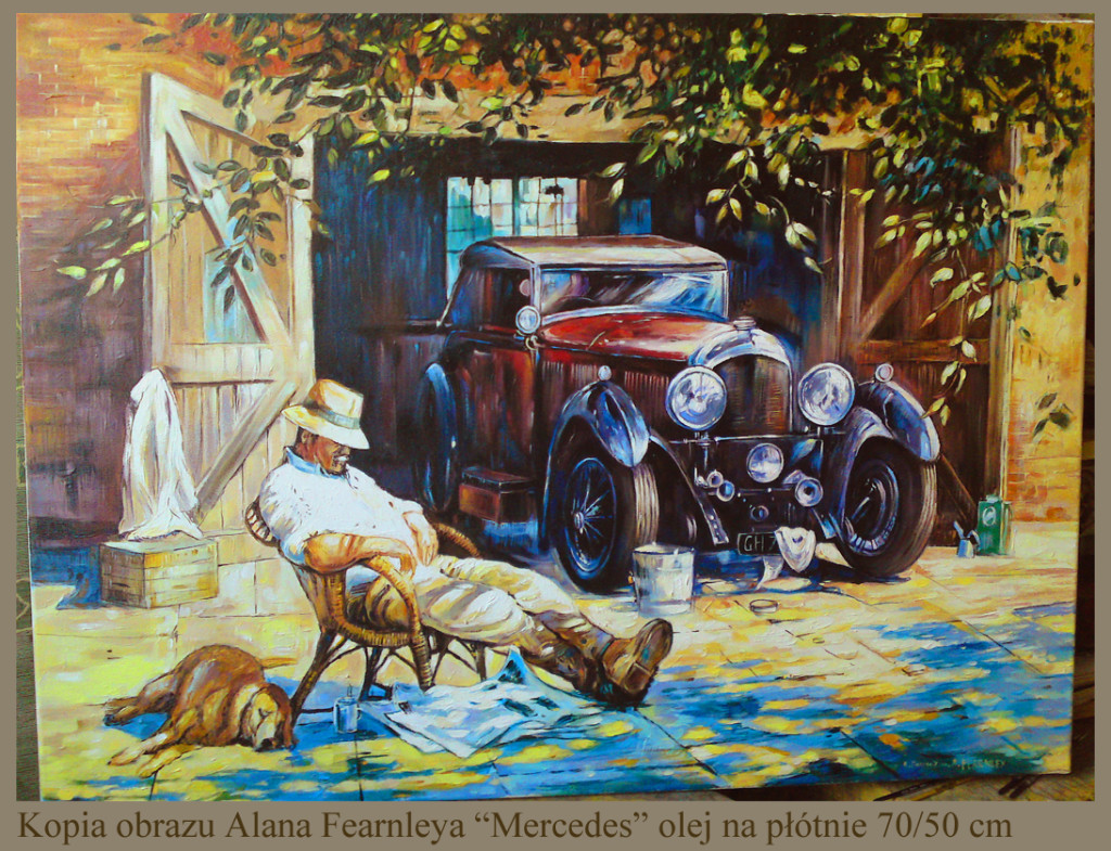 "Kopia obrazu Alana Fearnleya ""Mercedes"" 70/50 cm olej na płótnie"