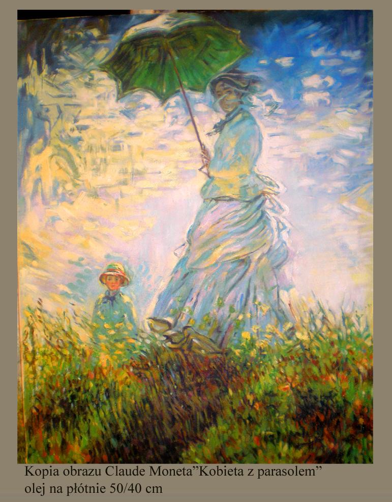 """Kopia obrazu Claude Moneta """"Kobieta z parasolką """" olej na płótnie 50/40 cm"""