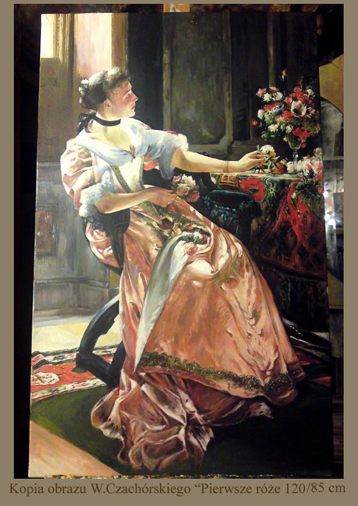 """Kopia obrazu W.Czachórskiego """"Pierwsze róże""""olej na płótnie 120/85 cm"""