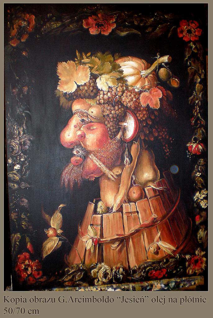 """Kopia obrazu G.Arcimboldo """"Jesień"""" olej na płótnie 70/50 cm"""