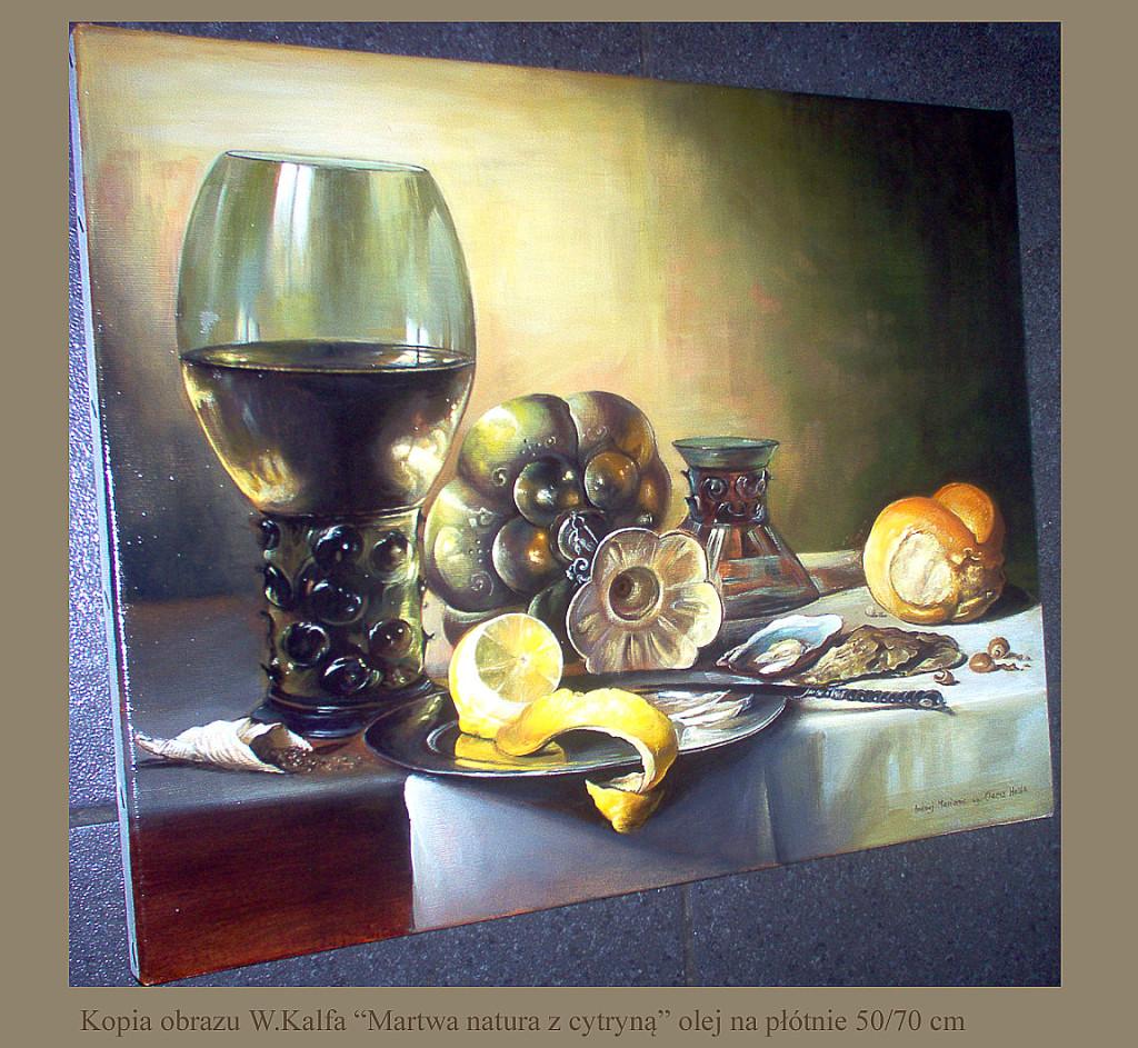 """Kopia obrazu Willema Kalfa """"Martwa natura z cytryną"""" olej na płótnie format 50/40 cm"""