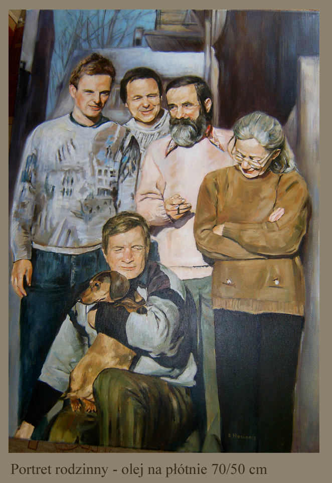 Portret rodzinny olej na płótnie 70/50 cm