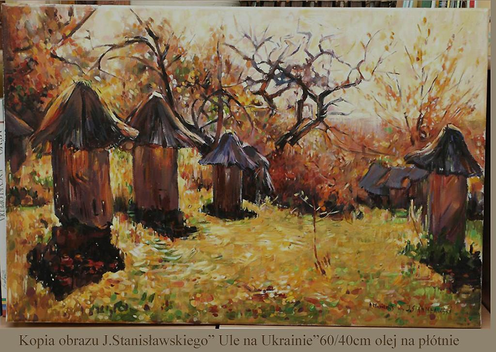 """Kopia obrazu Jana Stanisławskiego """"Ule na Ukrainie"""" olej na płótnie 60/40 cm"""
