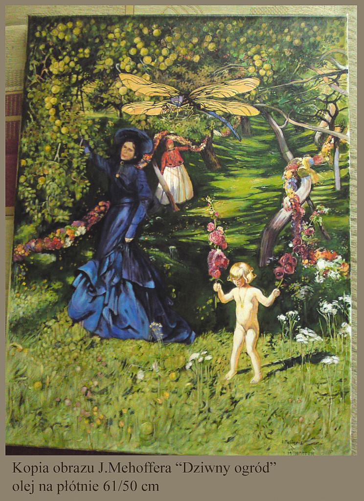 """Kopia obrazu Józefa Mehoffera """"Dziwny ogród"""" olej na płótnie 61/50 cm"""