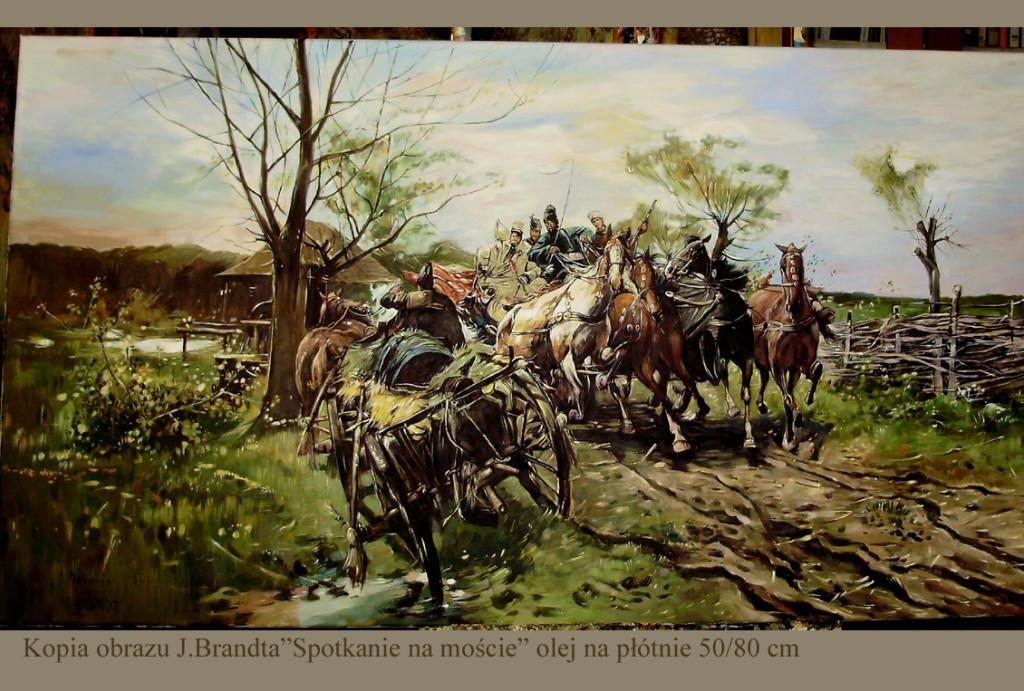 "Kopia obrazu Józefa Brandta ""Spotkanie na drodze"" olej na płótnie 50/90 cm"