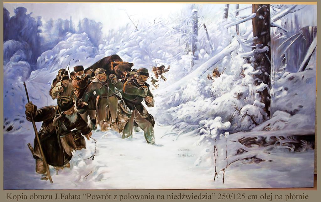 "Kopia obrazu  J.Fałata""Powrót z polowania"" olej na płótnie"