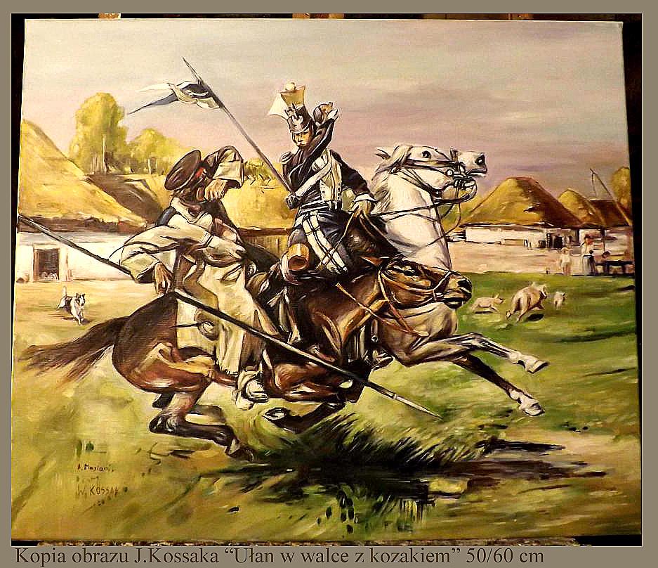 Kopia obrazu J.Kossaka Ułan w walce z kozakiem olej na płótnie 60/50 cm