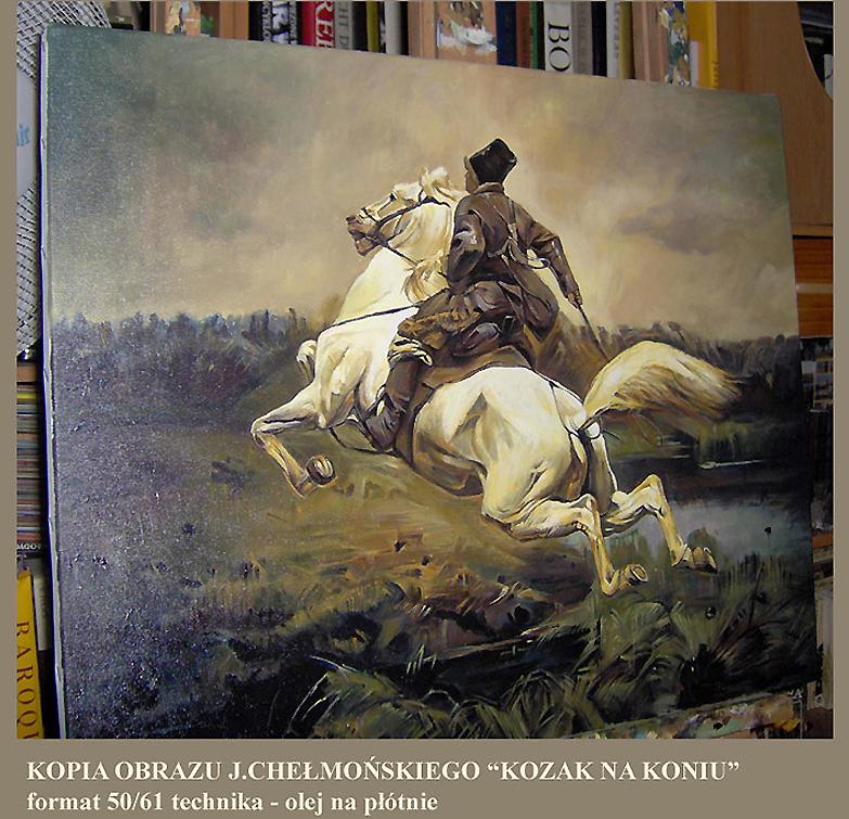 """Kopia obrazu Józefa Chełmońskiego """"Kozak na koniu"""" 50/61 cm"""