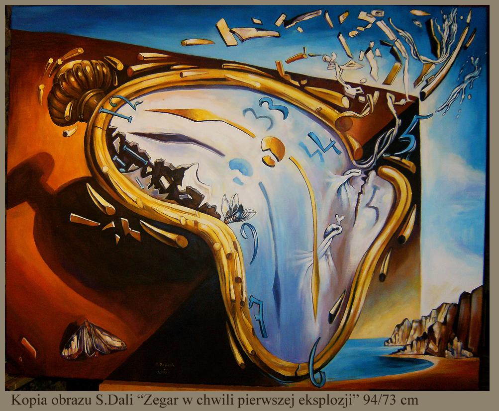 """Kopia obrazu S.Dalego """"Zegar w chwili pierwszej eksplozji"""" olej na płótnie  94/73 cm"""