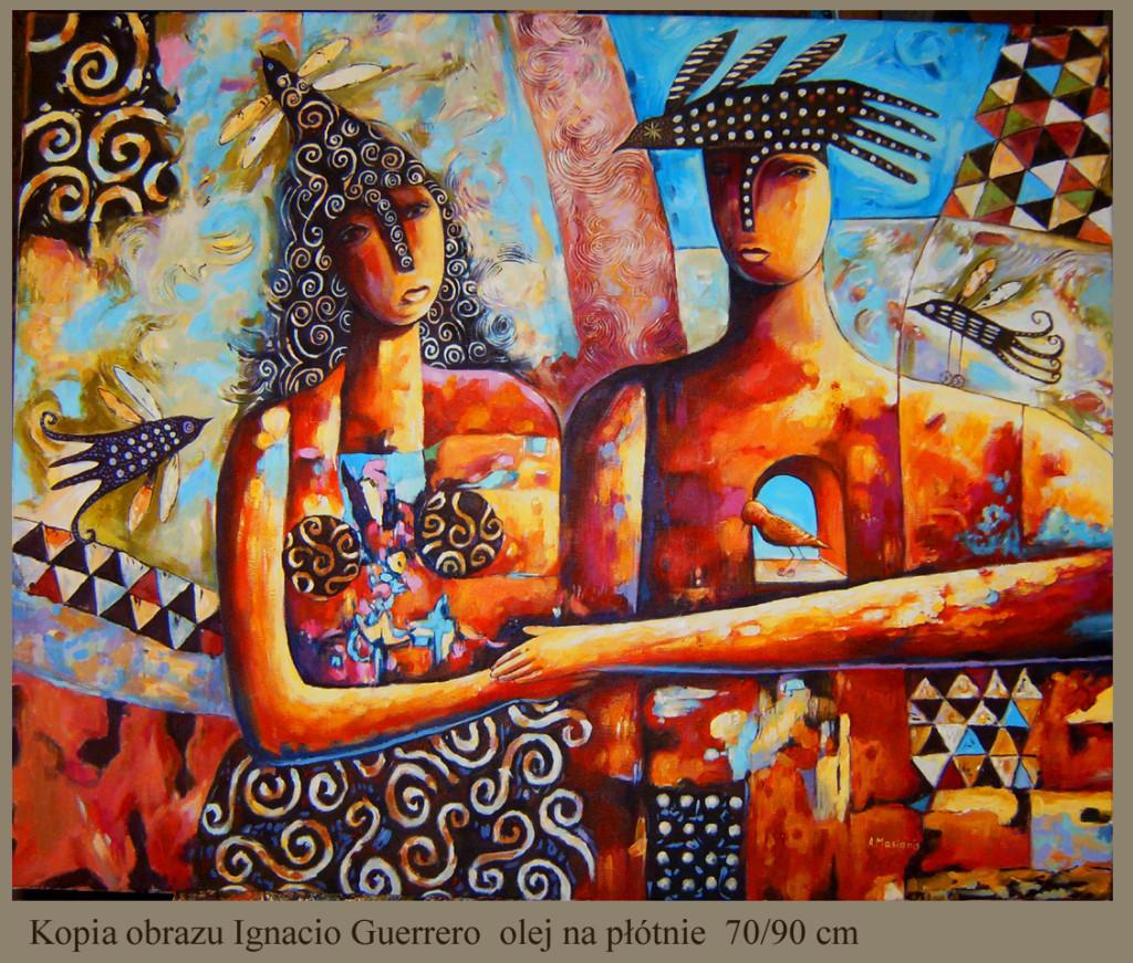 """Kopia obrazu Ignacio Guerrero""""Krokusy"""" olej na płótnie 70/90"""