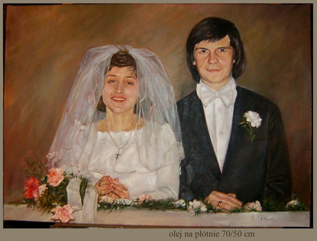 portret ślubny olej na płótnie 70/50 cm