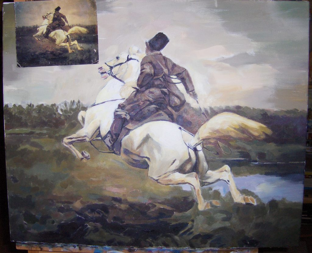 """kopia obrazu Józefa Chełmońskiego \\\\\\\\\\\\\\\\\\\\\\\\\\\\\\\""""Jeździec\\\\\\\\\\\\\\\\\\\\\\\\\\"""