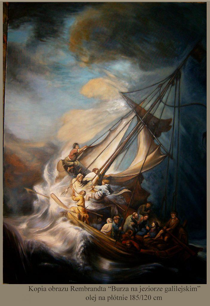 """Kopia obrazu Rembrandta """"Burza na jeziorze galilejskim"""" olej na płótnie"""