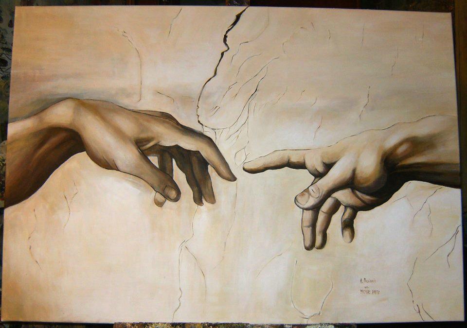 """Kopia fragmentu fresku Michała Anioła """"Stworzenie Adama"""