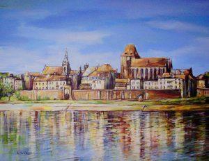 Toruń - panorama ,olej na płótnie 50/40 cm