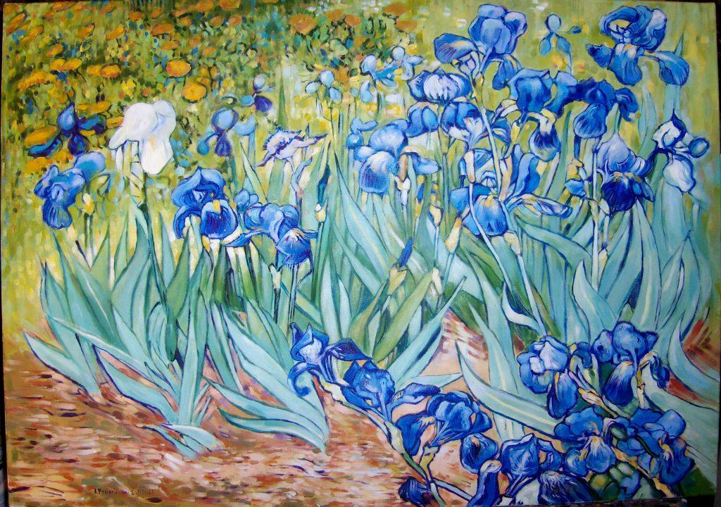 """Kopia obrazu V. van Gogha """"Irysy"""" olej na płótnie 100/70 cm"""