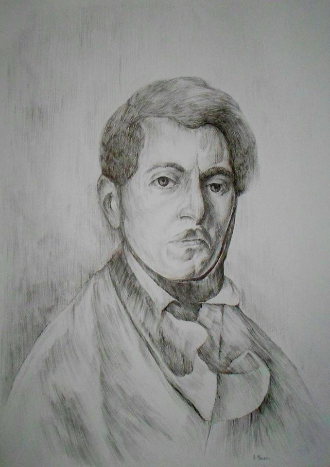 """""""Autoportret"""" rysunkowa interpretacja obrazu Piotra Michałowskiego o tym samym tytule , rysunek piór"""