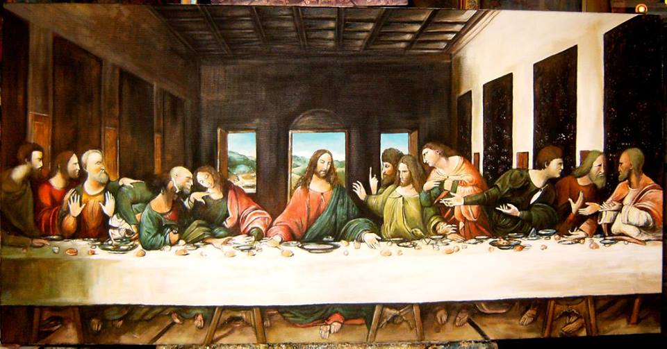 """Kopia obrazu Leonardo da Vinci """"Ostatnia wieczerza"""" olej na płótnie 50/100 cm"""