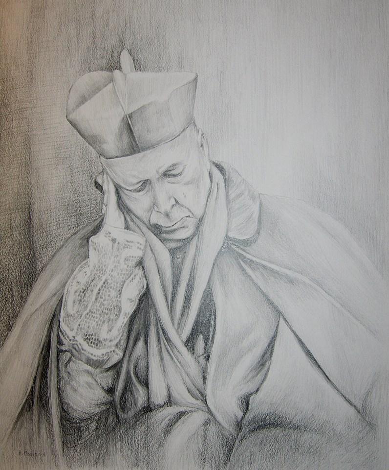 Kardynał Stefan Wyszyński rysunek ołówikiem na papierze 50/40 cm