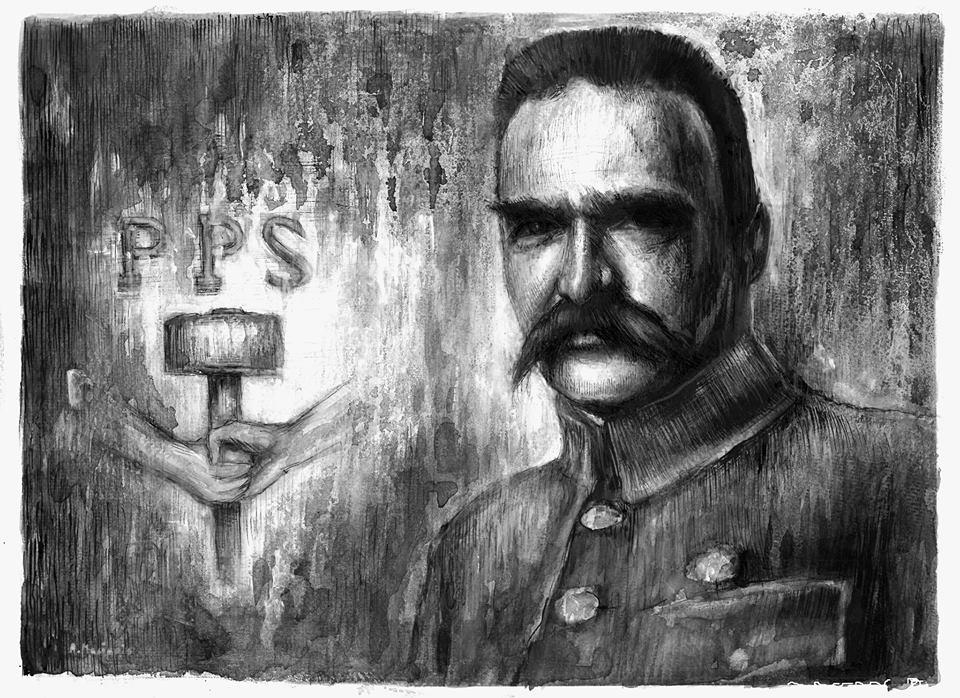Józef Piłsudski rysunek piórkiem 30/42 cm