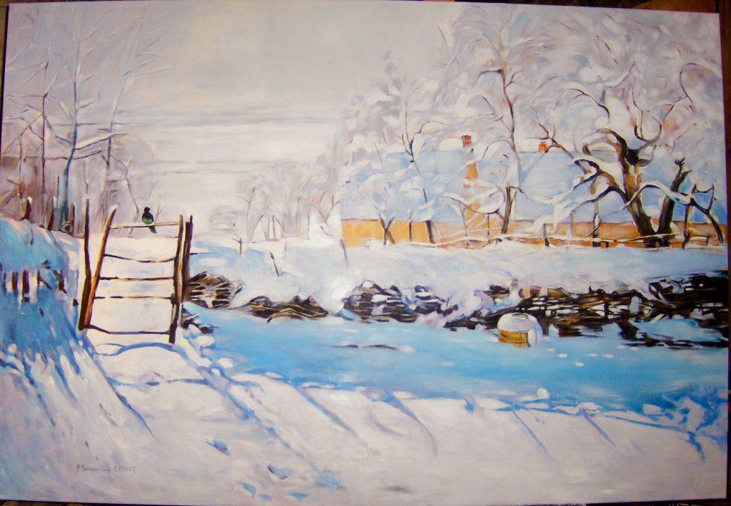 """Kopia obrazu Claude Monet """"La Pie""""olej na płotnie 140/89 cm"""