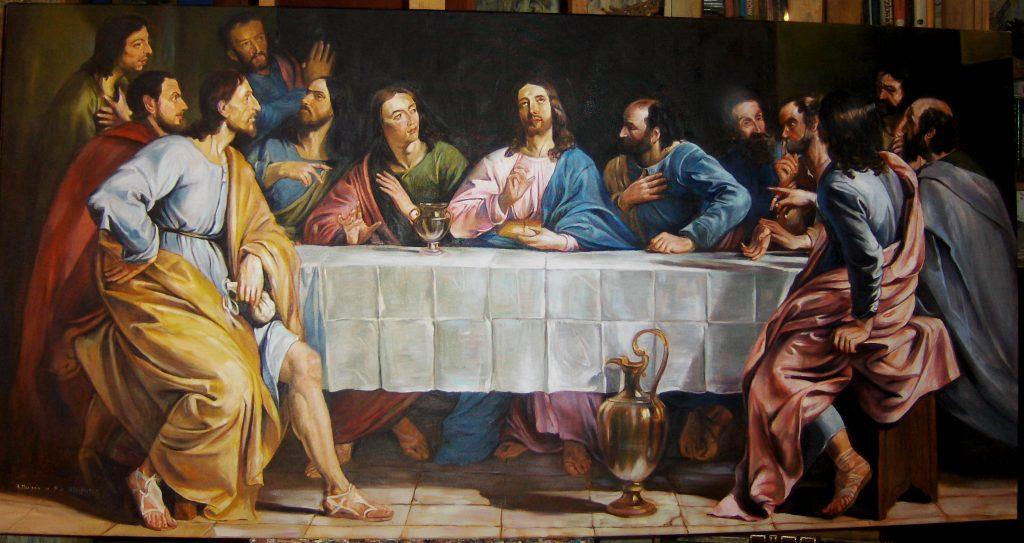 """Kopia obrazu Philippe de Champaigne """"Ostatnia wieczerza"""" olej na płótnie 140/80 cm"""