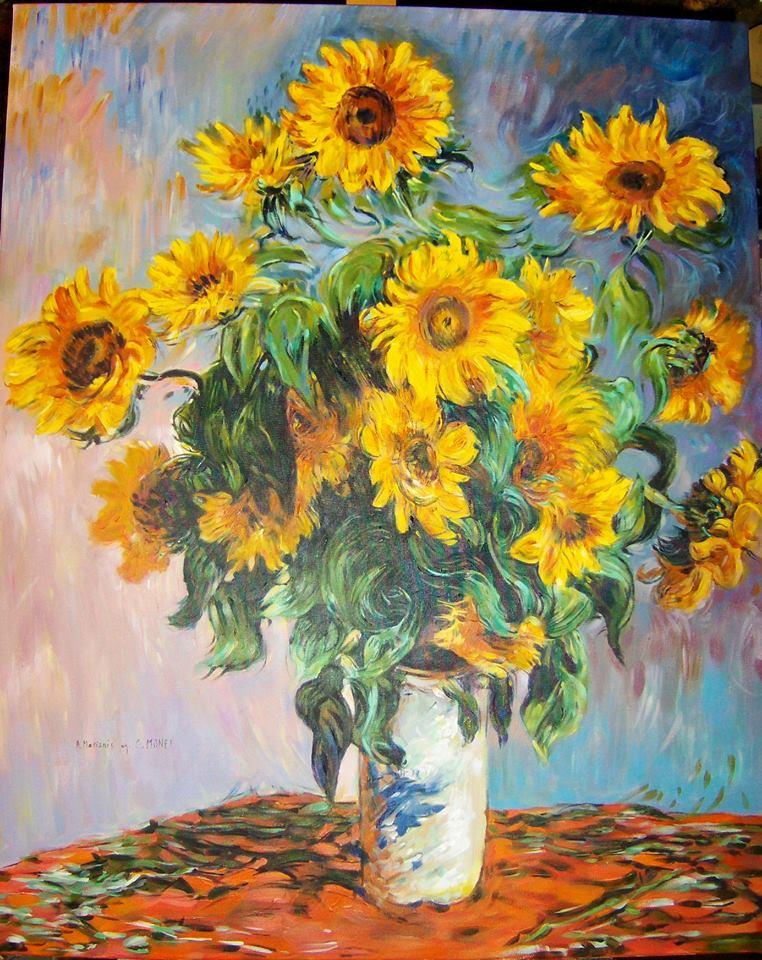 """Kopia obrazu Claude Moneta """"Bukiet słoneczników"""" olej na płótnie 100/80 cm"""