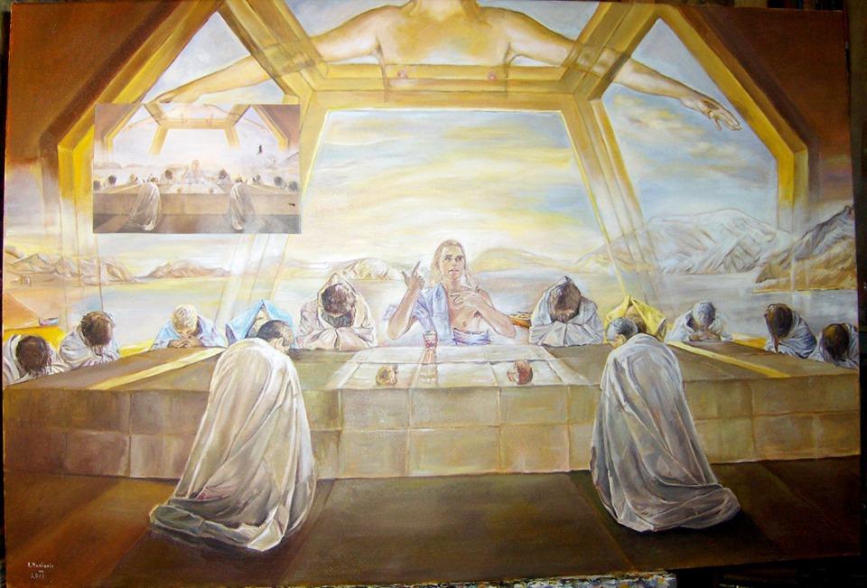 """Kopia obrazu Salvadora Dali """"Ostatnia wieczerza"""" olej na płótnie 110/83 cm"""
