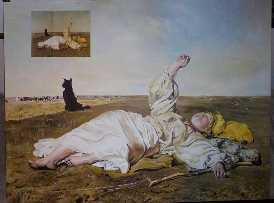 """Kopia obrazu J.Chełmońskiego """"Babie lato"""" 150/100 cm olej na płótnie"""