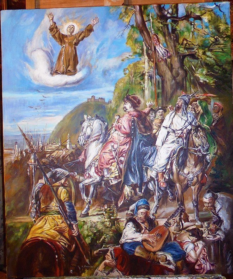 Kopia obrazu Jana Matejki - Bohdan Chmielnicki z Tuhaj-bejem pod Lwowem olej na płótnie 70/60 cm