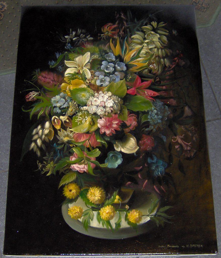 """Kopia obrazu K.Breyera """"Kwiaty"""" 70/50 cm olej na płótnie"""
