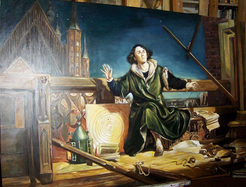 """Interpretacja obrazu Jana Matejki """"Astronom Kopernik, czyli rozmowa z Bogiem"""" olej na płótnie 120/80"""