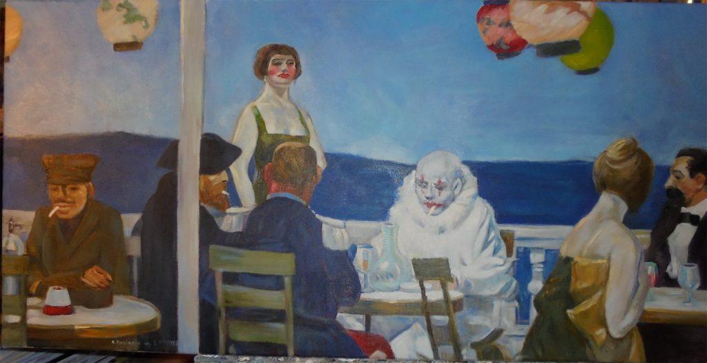 """Kopia obrazu Edwarda Hoppera  """"Soir Bleu"""" olej na płótnie 45/90 cm"""