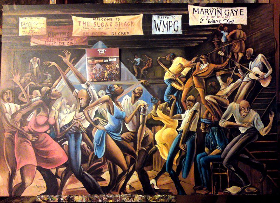 Obraz na podstawie okładki do płyty Marvina Gaye- I WANT YOU 100/70 olej na płotnie