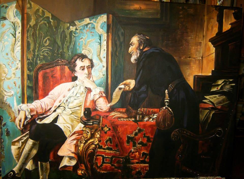 """Kopia obrazu """" Lichwiarz"""" Eberharda Stammela olej na płótnie 80/65 cm"""