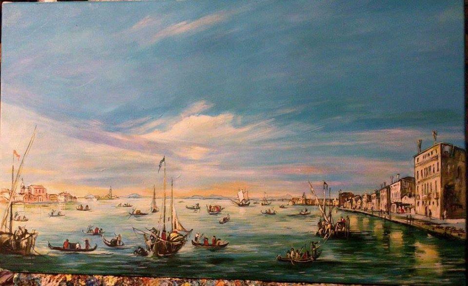 Kopia obrazu F.Guardi 30/55 cm olej na płótnie