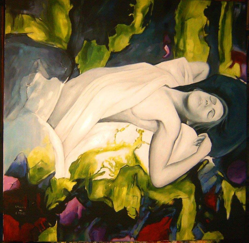 """Interpretacja obrazu Carolin Toyos """"Akt """" format  60/60 cm ,technika- olej na płótnie"""