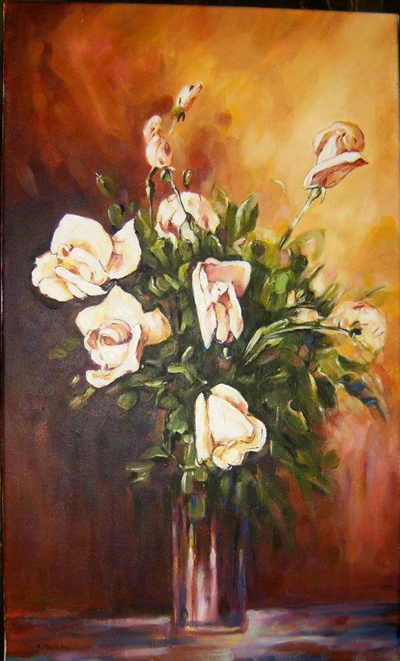 """Róże""olej na płótnie format 55/33 cm"