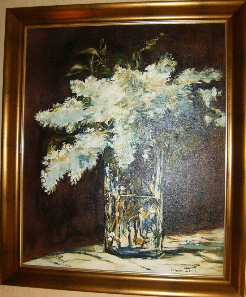 """Kopia obrazu E.Maneta """"Bzy"""" olej na płótnie 60/50 cm"""