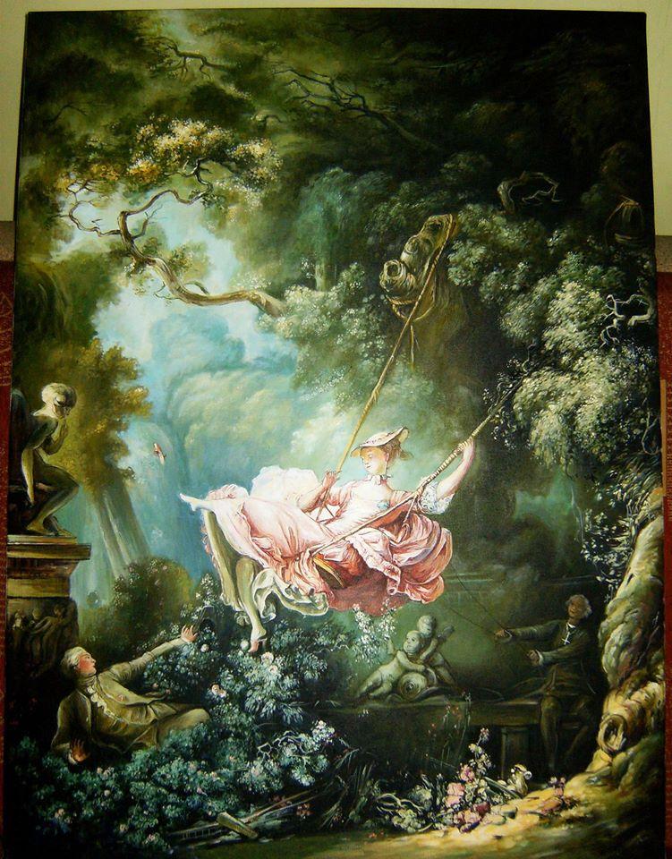 """Kopia obrazu Jean-Honoré Fragonarda """"Huśtawka"""" olej na płótnie 110/80 cm"""