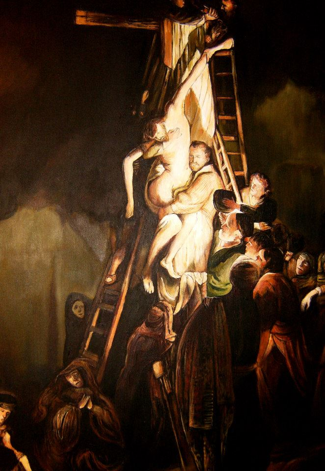 "Kopia obrazu Rembrandta ""Zdjęcie z krzyża""fragment olej na płótnie 80/60 cm"