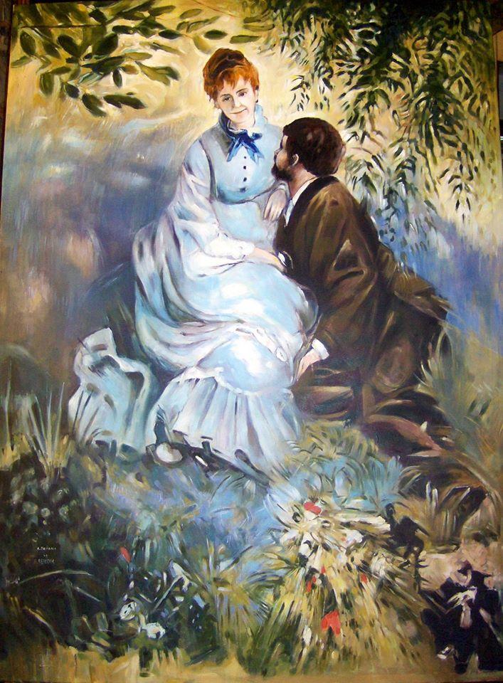 "Kopia obrazu August Renoir ""Les Amoureux"" 85/116 cm olej na płótnie"