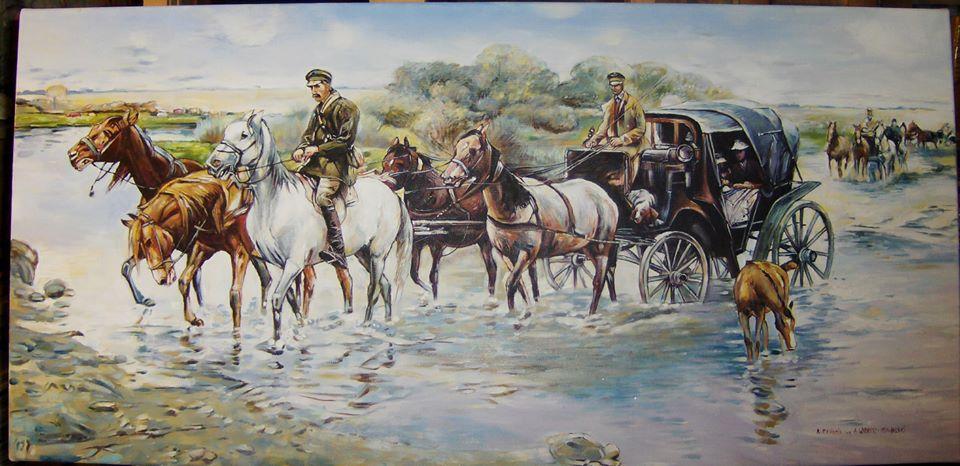 """opia obrazu Alfreda Wierusza-Kowalskiego """"Przeprawa przez rzekę"""" 90/60 cm olej na płótnie"""