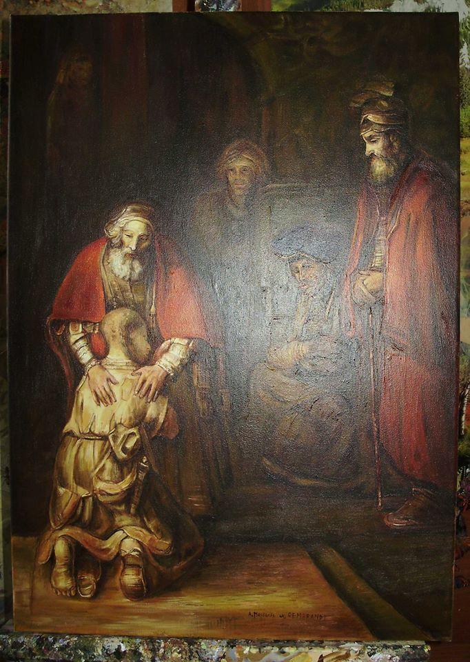 "Kopia obraz Rembrandta ""Powrót syna marnotrawnego"" olej na płótnie 50/70 cm"