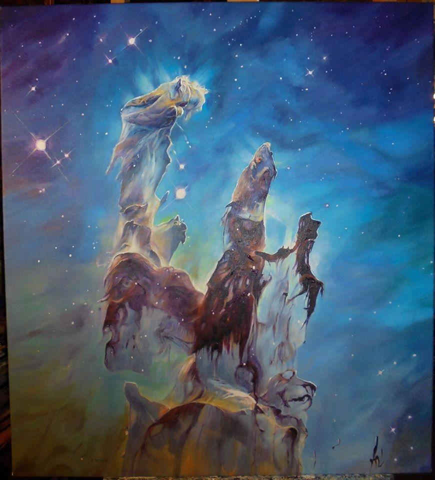 Filary stworzenia obraz na podstawie zdjecia olej na płótnie 75/83 cm