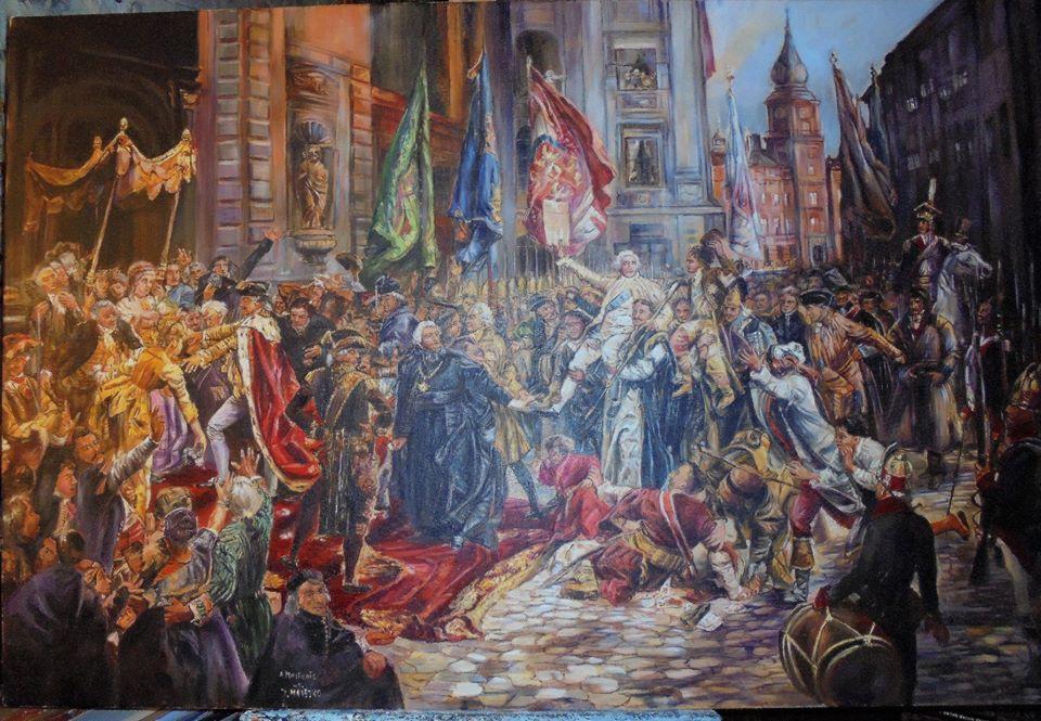 "Kopia obrazu Jana Matejki ""Konstytucja 3 Maja"" olej na płótnie 120/70 cm"