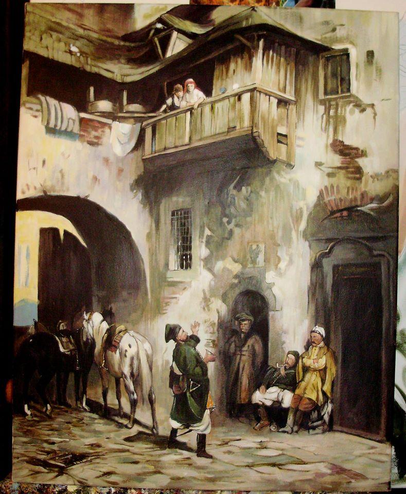 Kopia obrazu Alfreda Wierusza Kowalskiego , olej na płótnie 50/70 cm