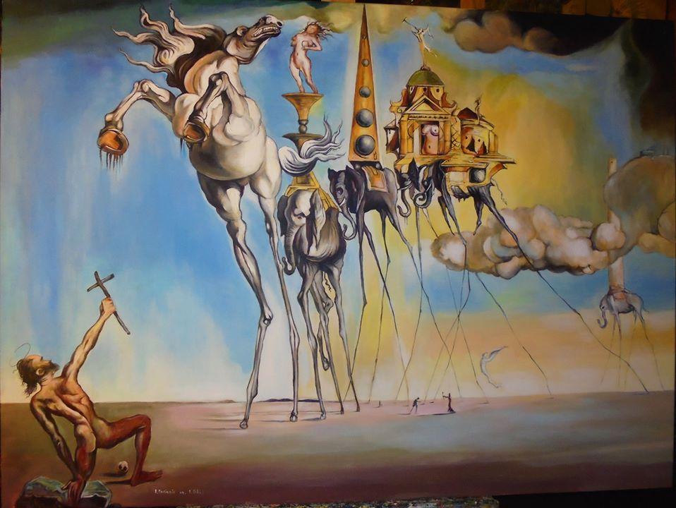 """Kopia obrazu Salvadora Dali """"Kuszenie Świętego Antoniego """" olej na płótnie 100/70 cm"""