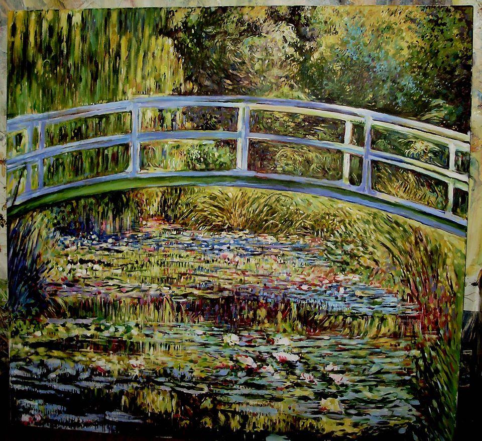 """Kopia obrazu C.Moneta """"Japoński mostek""""88/92 cm olej na płotnie"""